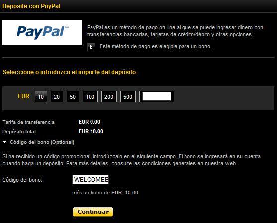 Aprovecha el Bono Bwin con Paypal