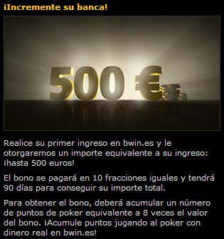 Bono de 500 euros Poker Bwin