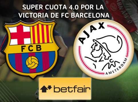 super cuota para apuesta barcelona vs ajax 21 octubre del 2014