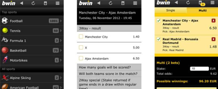 imágenes de la app de bwin para android moviles y tablets