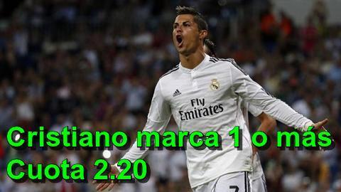 Pronostico Cristiano Ronaldo marcará al menos un gol a cuota 2.20