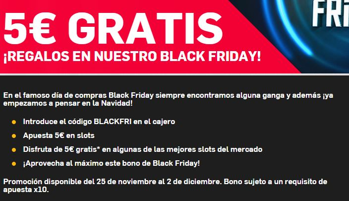 bono gratis black friday betfair