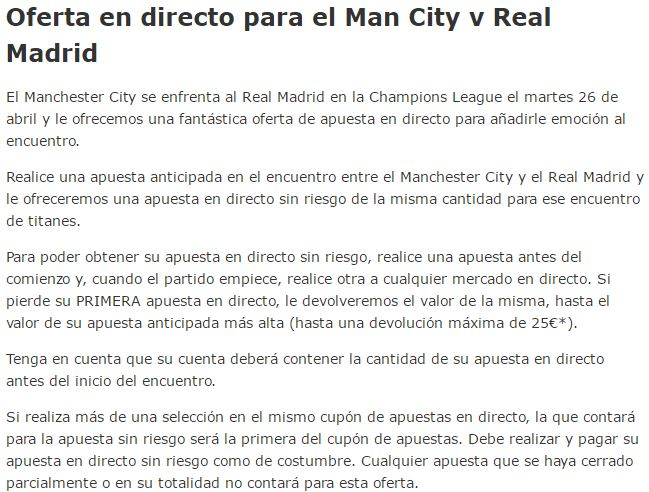 oferta apuestas semifinal ida manchester city vs real madrid 26 4 2016
